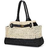 JOSEKO Stroh Strandtasche, Damen Umhängetasche Casual Handtasche Einkaufstasche Geldbörse Strandtasche