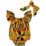 HOOUDO Girls Clothing Set,African Ethnic Style Bodysuit Off Shoulder Romper with Headband Clothes Outfits Set for…