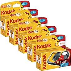 Kodak Fun Flash Einwegkamera (für 39 Aufnahmen), 5 Stück