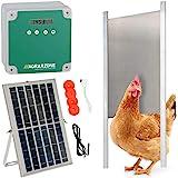 Agrarzone automatische solar kippenluik met schuif 22 x 33 cm | Kippenhok deuropener met timer & lichtsensor | 230V, batterij