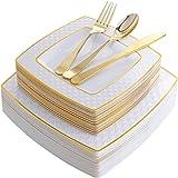 125 قطعة من البلاستيك الذهبي للاستعمال مرة واحدة، أطباق مربعة من الماس والفضي البلاستيكي الذهبي الجديد، تتضمن: 25 طبق عشاء 9.