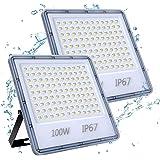 100W Focos LED Exterior 2 Paquetes, YIQIBRO 10000LM 6500K Blanco Frío Superbrillante Foco LED, IP67 Impermeable Luces LED Ext