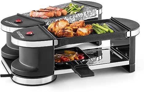 KLARSTEIN Tenderloin - Mini-Grill à raclette, Grill de Table, Festif, Dépliable, Articulé à 360 °, Plaques de cuisson en pierre et métal, Puissance: 600 Watt, 4 poelons Inclus - Argent