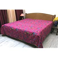 Stylo Culture Bedspread Hand Stitch Kantha Printed Cotton Decor Bird Coverlet Double Bed Magenta
