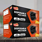 100pks Disposable Face masks   Breathable Triple Layer Mouth Cover with Elastic Ear loops  UK Seller (Black)