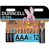 Duracell Ultra AAA Alkaline Batteries [Pack of 12], 1.5 V LR03 MN2400 , Black