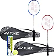 Yonex ZR 100 Light Badminton Combo (Set of 2 Yonex ZR 100 Light Badminton Racquet with Full Cover + Mavis 200I Shuttlecock P