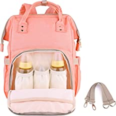 Diaper Backpack for Mommy By House of Quirk Waterproof Nappy Bag with Stroller Hooks Rucksack Lightweight/Large Capacity/Durable - Pink