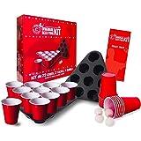 Originele officiële Beer Pong Kit |Officieel compleet bierpongpakket |Premium kwaliteit |22 rode bekers |2 Afstandsrekken