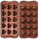 FYY 2 pièces de moules de coeur de chocolat en silicone, moule en silicone de coeur, pour chocolats, gâteaux, gelée, pudding,