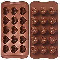 FYY 2 pièces de moules de coeur de chocolat en silicone, moule en silicone de coeur, pour chocolats, gâteaux, gelée…