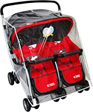 Jiyaru PVC Waterproof Wind Dust Shield Universal Buggy Twin Stroller Rain Cover (Multicolour)