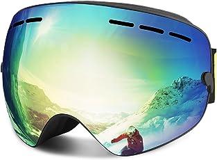 Skibrille, Winter Sport über Gläser Snowboardbrillen mit Anti-Nebel, 100% UV400 Schutz, Windwiderstand, Austauschbare Frameless Sphärische Linse, Ski-Gläsern für Männer, Frauen und Jugend (Gold)