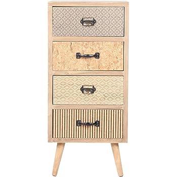 Viva Home Commode en Bois, 34.5 x 30 x 76.5 cm, Buffet pour Salon ou Chambre à Coucher, avec 4 différents tiroirs, Couleur Claire
