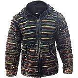 SHOPOHOLIC FASHION Mens Black Ripped Striped Gothic Tone Winter Hippie Jacket
