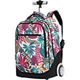 Rolling Backpack for Kids Adults,19 Inch Trolley Backpack with Wheels Wheeled School Bag For Children Teens Travel Laptop Boo