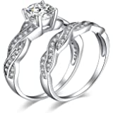 JewelryPalace Infinito1.5ct Cubic Zirconia Anniversario Matrimonio Promessa Fidanzamento Sposa Band Anello Set 925 Sterling A