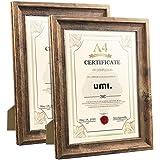 Amazon Brand – Umi - Cadres Format A4 en Bois Lot de 2 Rustiques pour Photos,Certificats,Document,21x29.7 cm Mural ou à Poser