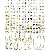 CASSIECA 84 Paia Orecchini Donna Oro Orecchini Pendenti Orecchini Acciaio Anallergici Donna Set Orecchini Cerchio Semplice Or