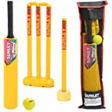 SUNLEY Plastic Cricket kit for All Age Groups and Sizes (1 Piece Cricket Bat, 4 Piece Wickets, 2 Piece Base, 2 Piece Bails, 1