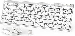 iClever Tastiera e Mouse Wireless - Tastiera e Mouse Portatili Wireless 2.4G, Batteria Ricaricabile Design Ergonomico Dimensioni Regolari Sottile Connessione Stabile DPI Regolabile (Argento e Bianco)
