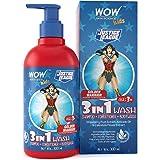 WOW Skin Science Kids 3 in 1 Wash - Shampoo + Conditioner + Body Wash - Golden Warrior Wonder Woman Edition - No Parabens, Co