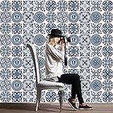 JY ART Fliesenaufkleber | Fliesen-Dekor Folie für Bad und Küchenfliesen | Deko Fliesen-Bilder - Wände renovieren | Selbstklebende Wandaufkleber | 20x20 cm Blaue Designs - 20 Stück, 20 * 20cm