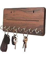 Metvan OneLine MDF Key Holder(8 Hooks 25 cm x 11 cm x 0.4 cm, Brown) Best for Christmas Gift