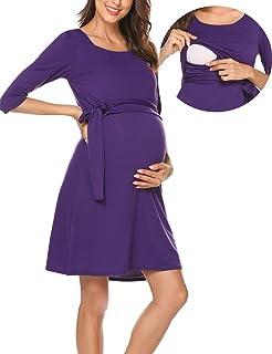 Romanstii Damen Umstandskleid Maternity Schwangerschafts und Still-Kleid Mit 3//4 /Ärmel Lagendesign Wickeln-Schicht