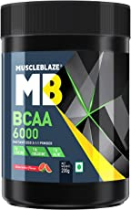MuscleBlaze BCAA 6000 Amino Acid Powder (Watermelon, 0.44 lbs/200g, 25 Servings)