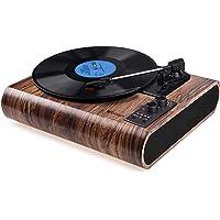 Plattenspieler, VOKSUN Vintage Plattenspieler mit 3-Gang Bluetooth Vinyl Player LP Plattenspieler eingebautem…
