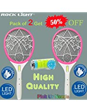 Pick Ur Needs™ Rocklight High Range Mosquito Racket/Bat with Torch with Wire Charging (Multicolor)