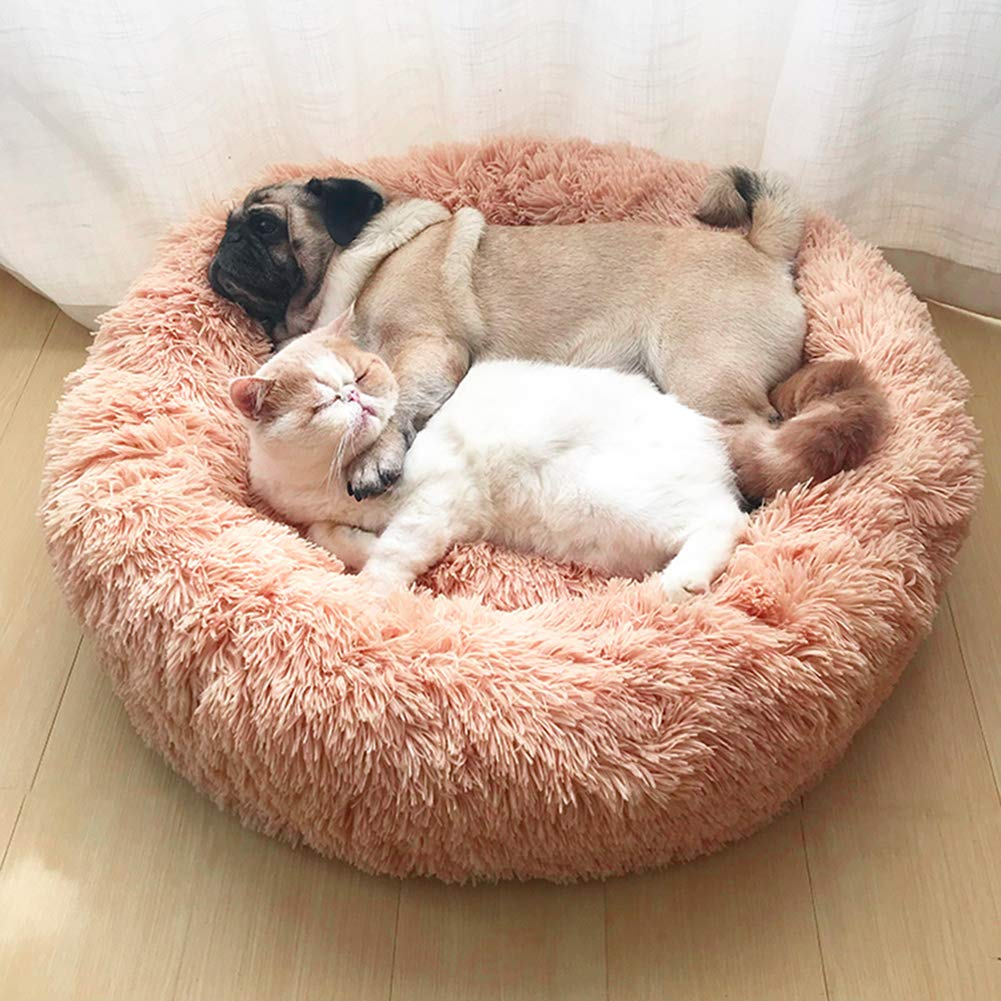 IBLUELOVER Fluffy Faux Fur Dog Bed Sofa Donut Cuddler Cat Bed Pet Calming Bed Cushion Cat Puppy Round Nest Warm Soft Plush Comfortable for Sleeping Winter for Small Medium Dog Cats