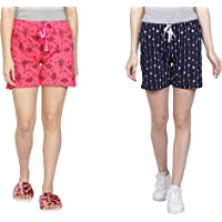 Club A9 Women's Cotton Printed Regular Shorts - Pack of 3