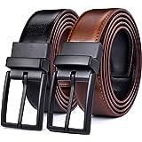 Beltox Fine Men Dress Belt Reversible Leather Black Rotate Buckle