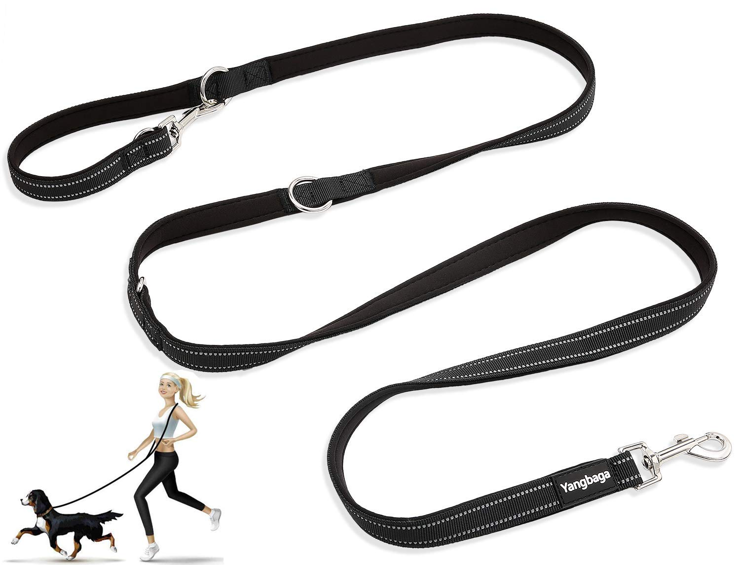 Dog Lead, Hands Free Dog Leash,Multifunctional Dog Rope Training Leads for Running Walking Hiking, adjustable to 4 different lengths Nylon Double Running Lead for Small, Medium or Large Dogs