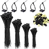 HISAYSY Kabelband, 400 st självlåsande svarta buntband i nylon, premium buntband/knytband i storlek 6,8,10,12 tum med 20 st s