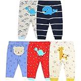 De feuilles 5Pcs Unisex Baby Toddler Cartoon Print Long Pants Elastic Waist Cotton Sleepwear Pants Leggings for Boys…