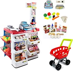 Indusbay Supermarket Cash Register Play Set + Shopping Cart with Working Scanner Light and Sound, Pretend Food, Shopping cart , Currency & Groceries