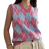 Mujeres Streetwear Preppy Style Knitwear Tank Top V Cuello Argyle Plaid Suéter de punto Chaleco