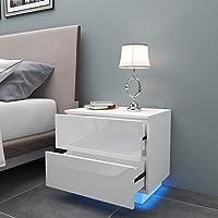 YOLEO Table de Chevet avec l'éclairage LED, Meuble de Rangement Table, Table de Chevet à 2 tiroirs de Style Moderne…