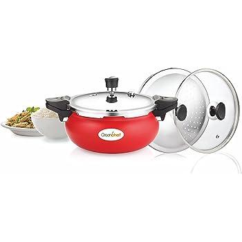 Greenchef Aluminium 5 L Pressure Cooker, Red