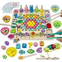 Jouet Montessori en Bois Jeu de Société Jeu de Clip Perles Pêche Magnétique Jeux Éducatif Puzzle Bois Interactif Cadeau…