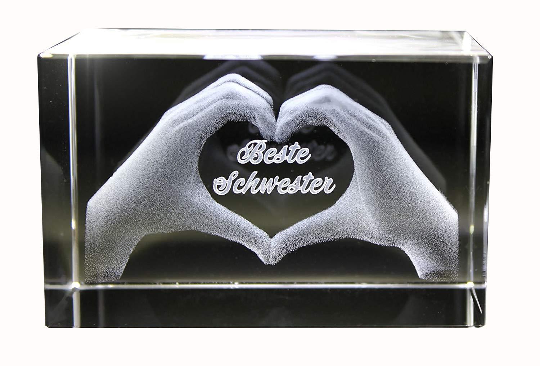 VIP-LASER 3D Glas Kristall mit Gravur I Herz aus zwei Händen mit Text: Beste Schwester! I ideales Geschenk zum…