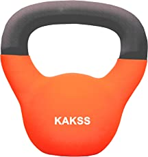 KAKSS Gymenist Kettlebell Fitness Solid Cast Iron Weights With Neoprene Coating Around The Bottom half Metal 12kg Kettle Bell (Made in India)