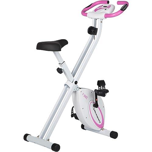 Ultrasport F-Bike Design, Cyclette da Allenamento, Home Trainer, Fitness Bike Pieghevole con Sella in Gel, con Portabevande, Display LCD, Sensori delle Pulsazioni Unisex Adulto