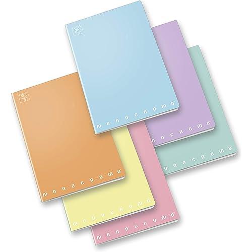 Pigna Monocromo Pastel 02298900C, Quaderno formato A4, Rigatura 0C, righe per 4° e 5° elementare, Carta 80g/mq, Pacco da 10 Pezzi