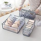 AUCHIKU Organiseurs de tiroir pour sous-vètements, Lot de 3 Boîte de Rangement Pliable Non-tissé Closet Organiseurs pour Sout