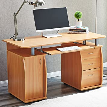 RayGar Beech Deluxe Design Computer Desk With Cabinet and 3 ...
