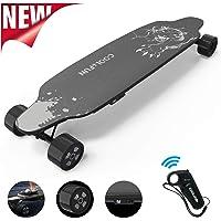 NEOMOTION Skateboard Électrique avec télécommande Planche à 4 Roues avec Batterie Durable, Longboard Moteur Puissant 400W, Design Léoprd Noir